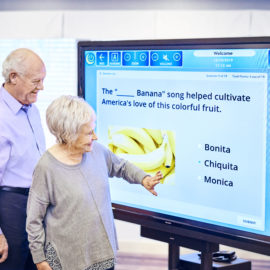 Older adults using engagement technology to play a game